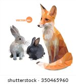 Foxes And Hares. Funny Vector...
