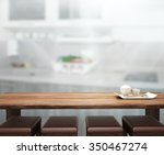table top and blur interior of