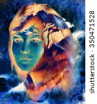 goddess woman l face and tree ... | Shutterstock . vector #350471528