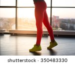 woman's legs in red sports... | Shutterstock . vector #350483330