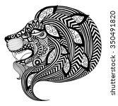 drawing zentangle angry lion... | Shutterstock .eps vector #350491820