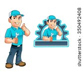 handyman worker with key in the ... | Shutterstock .eps vector #350492408