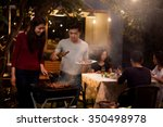 asian are doing barbecues and... | Shutterstock . vector #350498978