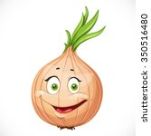 cartoon smiling onions isolated ...