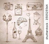 vector elements of paris with... | Shutterstock .eps vector #350525564