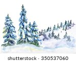Snowy Hills With Trees....