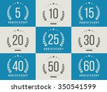 vector set of anniversary signs ... | Shutterstock .eps vector #350541599