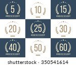 Vector Set Of Anniversary Sign...