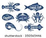 Set Of Seafood Logo Templates....