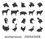 Vector Farm Animals Silhouette...