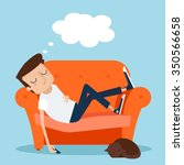 man sleeping at home on sofa.... | Shutterstock .eps vector #350566658