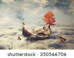 young lonely beautiful woman... | Shutterstock . vector #350566706