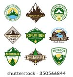 set of vector camping and... | Shutterstock .eps vector #350566844