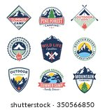 set of vector camping and... | Shutterstock .eps vector #350566850