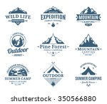 Set of camping and outdoor activity logos. Tourism, hiking and camping labels. Camping and travel icons for tourism organizations, outdoor events and camping leisure. | Shutterstock vector #350566880