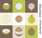 vector coconut icons set  flat... | Shutterstock .eps vector #350567006