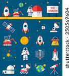 universe cosmos flat icons... | Shutterstock .eps vector #350569604