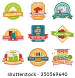 textile colored emblem set with ... | Shutterstock .eps vector #350569640
