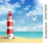 realistic lighthouse on the... | Shutterstock .eps vector #350574899