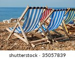 many empty deckchairs in a row...   Shutterstock . vector #35057839