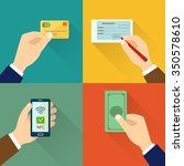 flat icon set of payment types. ... | Shutterstock .eps vector #350578610