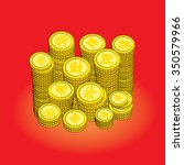 chinese golden coins on red ... | Shutterstock .eps vector #350579966