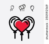 balloons love valentine day | Shutterstock .eps vector #350592569