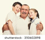 grandfather and grandchildren... | Shutterstock . vector #350602898