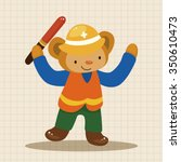 animal monkey worker cartoon... | Shutterstock .eps vector #350610473
