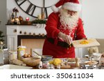 santa claus cooking at home... | Shutterstock . vector #350611034