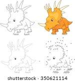 Cartoon Styracosaurus. Dot To...