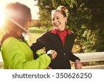 smiling sportswomen standing...   Shutterstock . vector #350626250