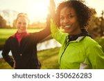 two sportswomen giving high...   Shutterstock . vector #350626283