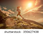 female running in mountains... | Shutterstock . vector #350627438