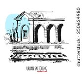 azerbaijan urban sketch.... | Shutterstock .eps vector #350634980