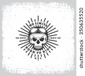 vintage label with skull in a... | Shutterstock .eps vector #350635520