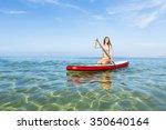 a beautiful woman practicing... | Shutterstock . vector #350640164