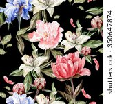 Stock photo watercolor pattern with flowers iris peonies and lilies buds and petals illustration 350647874