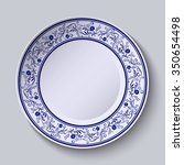 plate with blue patterned... | Shutterstock . vector #350654498