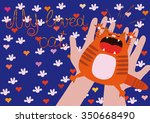 screaming red cat in human... | Shutterstock .eps vector #350668490