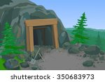 old mine with shovel and pick | Shutterstock .eps vector #350683973