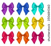 set of silk bow. vector... | Shutterstock .eps vector #350684360