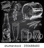 hand drawn beer set on... | Shutterstock .eps vector #350688683