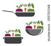 vector set of pans with... | Shutterstock .eps vector #350701568