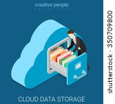cloud data storage flat 3d... | Shutterstock .eps vector #350709800