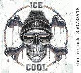 ghetto skull t shirt graphic | Shutterstock .eps vector #350738918