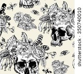 skull and flowers day of the... | Shutterstock .eps vector #350740010