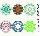 set of color ethnic ornamental... | Shutterstock .eps vector #350755469