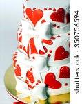 red white three tiered wedding...   Shutterstock . vector #350756594