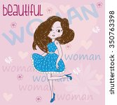beautiful woman with hearts and ... | Shutterstock .eps vector #350763398